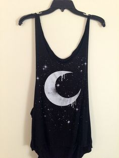 Black dripping moon tank top.