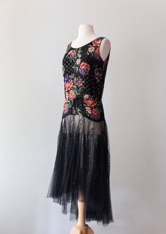 Vintage 1920s Dress - 20s Floral Print Burnout Black Velvet Flapper Dress With Lace Net Skirt And Drop Waist // Waist 32 by xtabayvintage on Etsy