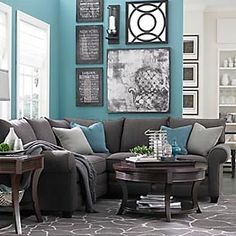 Love the greys and blue. What Im going for with my living room!