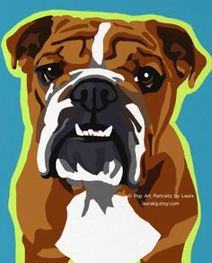 8x10 Pop Art English Bulldog Dog Print of Painting Signed by Artist. $12.00, via Etsy. Would love one of her gallery wrapped canvas pop art versions of this!