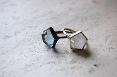 3D Hex Ring by Aesa- oxidized silver & aquamarine or 10k gold & quartz via una. #Ring #Aesa #una
