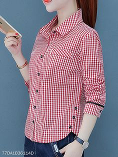 Turn Down Collar Decorative Buttons Checkered Blouses Blouse Styles, Blouse Designs, Night Dress For Women, Looks Chic, Blouse Online, Western Outfits, Fashion Dresses, Shirt Dress, Clothes For Women