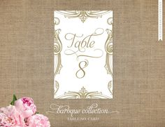 Wedding Table Numbers - Printed Table Number Cards - Any Quantity - Any Color - Coordinates with Baroque Wedding Collection. $10.00, via Etsy.