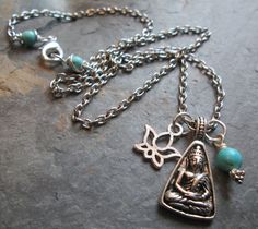 Buddha ~ Silver charm necklace with Buddha, Lotus and Turquoise Magnesite - Spiritual jewelry by PumpkinHollowCreatns on Etsy