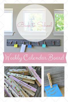 DIY Hanging Weekly Calendar Board