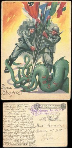 Propaganda - Italien Postarte farbig: Hakenkreuz , Italien Fahne ,Sturmangriff ,Soldaten greifen Russland an gebraucht - Pisa 1942,Bedarfserhaltung. Sehr seltene Karte.