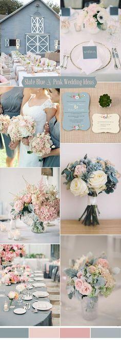 slate blue and blush pink wedding colors ideas #PinkWeddingIdeas