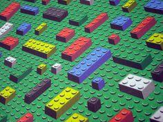 Bricks Fabric Quarter - lego inspired FQ - geek quilting cotton primary colors. $8.00, via Etsy.