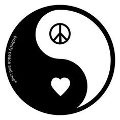 """Yin Yang and Peace and Love go together like peas and carrots. 4.5"""" round diecut, Vinyl UV coated, auto bumper-style outdoor quality sticker. Great sticker adhesion to various surfaces. - Sticker is M"""