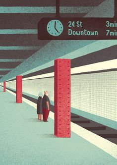 simple geometric art illustration poster style print by Davide Bonazzi. The way they are standing ready for this train gets me. Art And Illustration, Illustrations And Posters, Graphic Design Illustration, Graphic Art, Illustrator, Poster Design, Blender 3d, Arte Pop, Concept Art