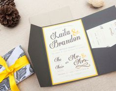 These are fun. wedding invitation gray and yellow wedding by aimerweddings