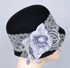 Women's Cloche Hat Black Fur Felt Velour by MakowskyMillinery, $199.00