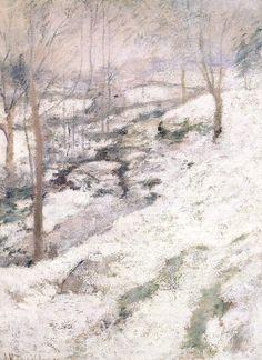 John Twachtman, Frozen Brook (circa 1893) -his classic style....amazing American Impressionist .....someday!