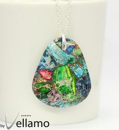 Large pendant with mosaic colorful jasper with pyrite by byVellamo on @Etsy