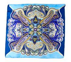 Foulard carré en soie mini bleu sambala  50 x 50 cm - Foulard soie carré - Mes Echarpes