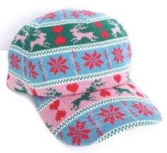 women/girl KNIT BEANIE-STYLE BASEBALL HAT Christmas Winter Reindeer Pink Sweater #Makerwear #BaseballCap
