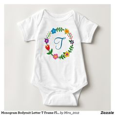 Monogram Bodysuit Letter T Frame Flowers. new baby boy, birthday, or Christmas gift for a boy whose name starts with T: Trence, Terence, Theodore, Tyler, Taylor, Thomas, Tom, Tomas, Timothy, Tim, Todd, Teale, Tavi, Teagan, Travis, Tony, Toni, Tolby, Tobias, Tyson, Tedd, Terell, Tennison, Teegan, Tedman, Teddie, Theo, Theroux, Thelonius, Thaniel, Thadeus, Trey, Trent, Trevor, Titus, Tariq, Tristan, Truman, Troy, and so  on. There are two types of cursive T letters to choose from