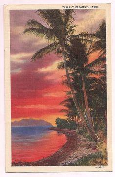Hawaii Sunset , vintage postcard from vintagepackrat shop, Etsy