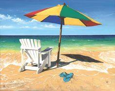 Surf Sand Summer by Scott Westmoreland ~ beach umbrella Adirondack chair flip-flops
