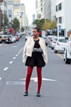 """Day 1 - Today Nandi is wearing a Forever 21 jacket she got a Shine on Long Street, an H&M dress, a striped top and tights from Cotton On, a necklace from YDE and brogues from Aldo.   """"I always make an effort to dress up on a Monday, with it being the first day of the week and all,"""" she says."""
