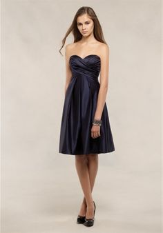 Bill Levkoff- Silhouette: A-Line Neckline: Strapless, Sweetheart Waist: Empire Gown Length: Short Fabric: European Satin Color: Various colors available Size: 0 - 28