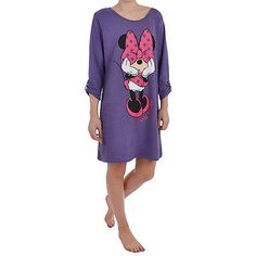 Disney Womens Minnie Mouse 3/4 Sleeve Nightie Night Dress Shirt - Purple