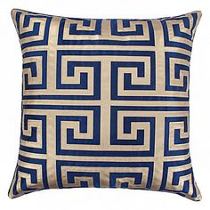 Twisting back onto itself like the patterns namesake River Meander, our Mykonos Pillow is as stately as decoratively distinctive.
