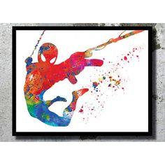 Spiderman Watercolor Art Print Spiderman Poster Marvel Hero Boy room Comic Art…