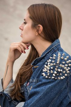 Minimal tattoo and silver spikes Levi's denim jacket. Minimal Tattoo, Spikes, Oc, Denim, Tattoos, Silver, Jackets, Shopping, Vintage