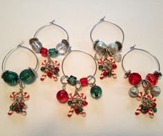 Christmas Wine Glass Charms by DazzlingAdornments on Etsy, $20.00