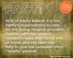 "90% of adults believe it is the family's responsibility to care for the dying. Hospice provides families with  the support needed to keep their loved one at home, and can take over fully to give the caretaker short ""respite""  periods. #hospicemonth #hospicefacts"