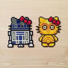 R2D2 and C3PO - Star Wars Hello Kitty perler beads by kittybeads