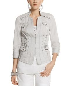 Super cute! White House | Black Market Laced Notch Collar Jacket #whbm