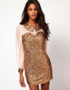 Semi formal!Sequin Collar And Cuffs Shift Dress