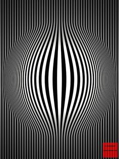 Op Art Bulging Vertical Stripes Black and White Two by CVADRAT, via Flickr