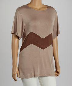 This Khaki Zigzag Tee - Plus is perfect! #zulilyfinds