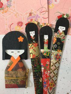 Japanese kimono paper dolls, set of 4 / Handmade embellishment for everyday gift, bookmark / Japan origami girl doll