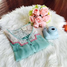 HP Tie front lace chiffon top True color shows in the 2nd picture. See through chiffon top, works perfect with bralettes and bandeaus. 3/4 sleeve, tie front and lace on shoulders. Size medium but works perfectly for size small. 100% polyester, machine wash cold, line dry. Belle dee jour Tops