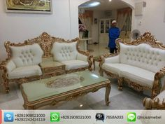 Rococo Sofa Set in Antique Gold Pasaribu   Pasaribu is a Rococo sofa set in antique gold finish that made from solid mahogany wood. It brings you the collaboration of a good quality wood lovely oldies gold finish and elegant white polyester fabric for the sofa's upholstery. Custom color combination is also available to suit your home's theme. The design of this mahogany sofa set adopts Rococo style that showed by its carving motif and curvy body. Pasaribu has sturdy construction to ensure…
