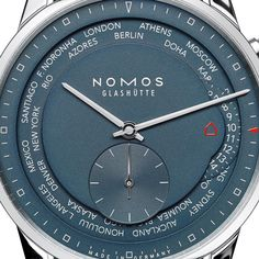 NOMOS Glashütte Zurich Worldtimer True Blue Beam me home, NOMOS! From Doha to Denver, and from Rio back home in the push of a button: Zurich World-timer true blue (Zürich Weltzeit nachtblau) combines 24 watches in one (See more at http://watchmobile7.com/articles/nomos-glashutte-zurich-worldtimer-true-blue) #nomos #nomosglashütte #nomosglashuette