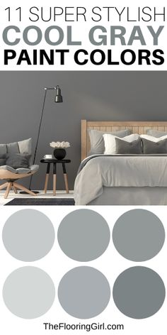 What are the best cool grays for painting walls? When it comes to painting, gray is by far the most popular paint color - whether it's for walls or cabinets. It adds depth and dimension to room. In this article, I share the best cool grays and coordinating accent walls. Grey Bedroom Colors, Neutral Paint Colors, Wall Paint Colors, Painting Walls, Interior Painting, Diy Painting, Paint Paint, Gray Paint, Most Popular Paint Colors