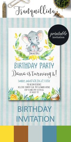 Elephant Birthday Invitation Printable, Kids Birthday Invitation, Jungle Birthday Invitation, Animal Birthday Party Invitation, Boy or Girl Invite. tranquillina.etsy.com