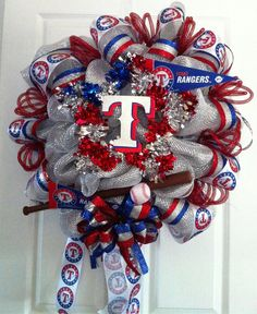 TEXAS RANGER Baseball wreath by TheCenterpieceLady on Etsy