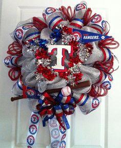 TEXAS RANGER Baseball wreath. $55.00, via Etsy.