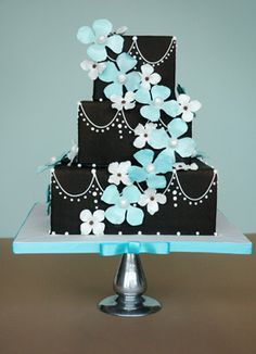 Tiffany Blue and black fondant cake Gorgeous Cakes, Pretty Cakes, Cute Cakes, Amazing Cakes, Take The Cake, Love Cake, Crazy Cakes, Fancy Cakes, Unique Cakes