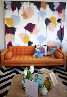 Clickon Furniture - Orange Couch and Art