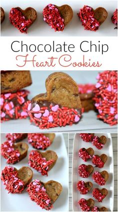 Valentine's Day Chocolate Chip Cookie Hearts are the perfect easy Valentine's Day dessert! Easy to make using pre-made cookie dough or your favorite cookie recipe! These heart shaped cookies will be your new go-to Valentine's Day treat! Valentines Baking, Valentines Day Cookies, Valentine Chocolate, Valentines Day Desserts, Valentine Treats, Kids Valentines, Birthday Cookies, Mini Desserts, Holiday Desserts
