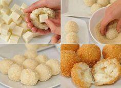 Boulettes de risotto coeur de mozza  #recette #mozzarella #risotto #boulette #mozza