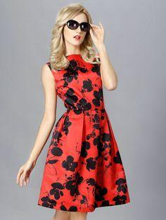 Red Floral Print V-Back Ruched Skater Dress | abaday