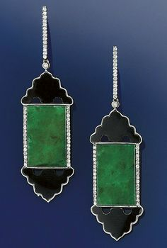 A pair of jadeite jade, diamond and onyx earpendants  Of oriental influence, each with jadeite jade rectangular plaque drop with diamond line detail and shaped onyx motifs above and below to a diamond line suspension loop